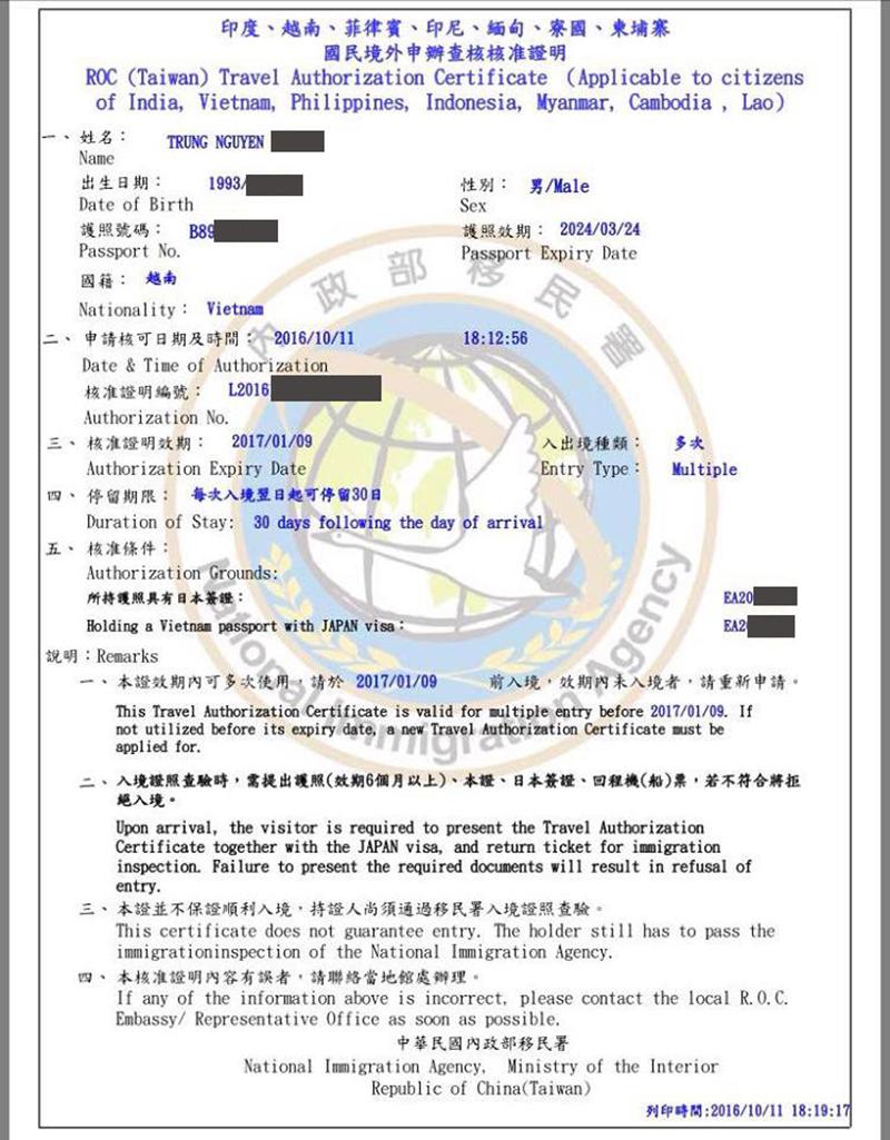 xác nhận visa đài loan công tác