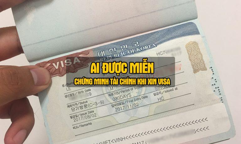 miễn chứng minh tài chính xin visa hàn quốc