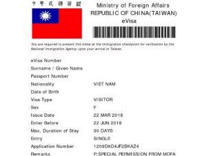 e visa đài loan quan hồng